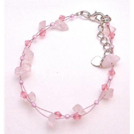 Pink Stone Nuggets Bracelet Matching Glass Pink Beads Bracelet