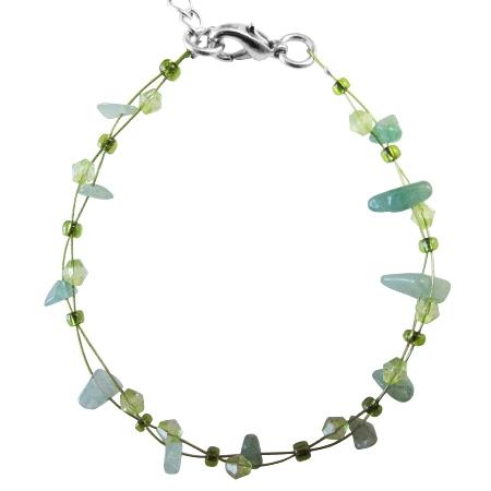 Cheap Wedding Jewelry Flower Girl Peridot Green Nugget Beads Bracelet