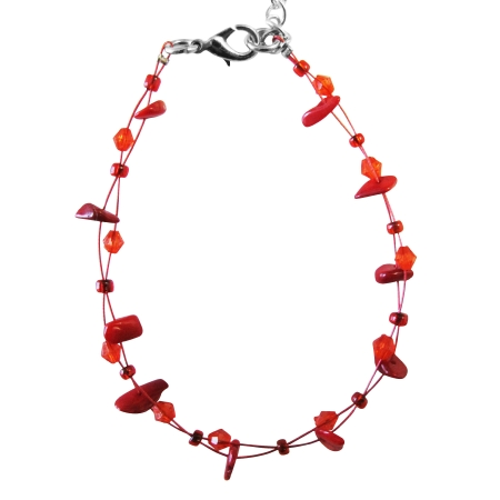 Coral Nugget Bracelet Coral Glass Bead Inexpensvie Red Trendy Bracelet
