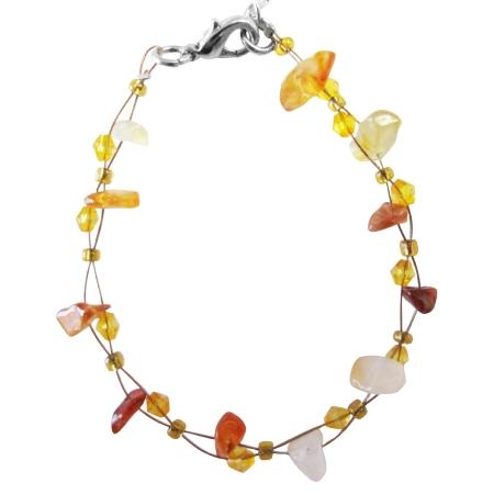 Carnelian Nugget Carnelian Chip Bracelet Carnelian Glass Bead Bracelet