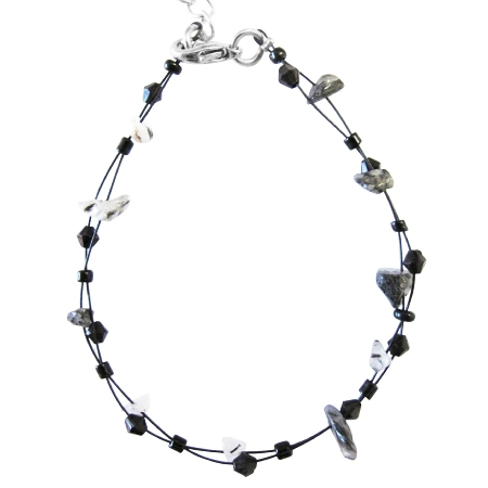 Black White Stone Nugget Fancy Fashionable Black Glass Beads Bracelet