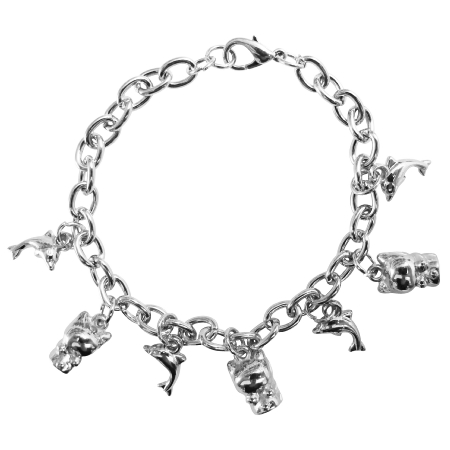 Charm Bracelet Thick Rhodium Dangling Dolphin & Kitty Charm Bracelet