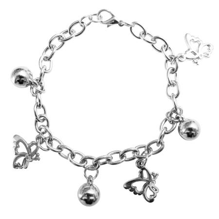 Jingle Bells Butterfly Charm Dangling Rhodium Chain Christmas Bracelet