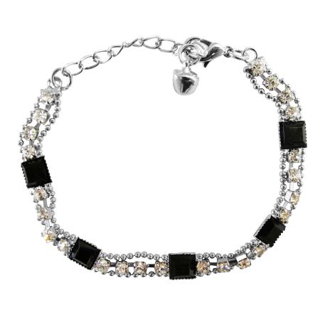 Gift Jewelry Black Cube Embedded On String Bracelet vintage Bracelet