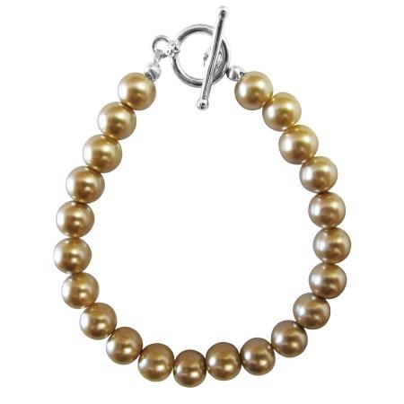Handmade Champagne Pearls Toggle Clasp Bracelet Cheap Wedding Jewelry