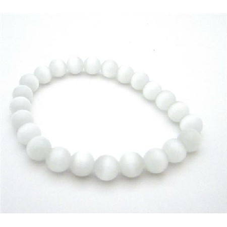Stylish & Beautiful White Cat Eye Bracelet Stetchable Bracelets 8mm