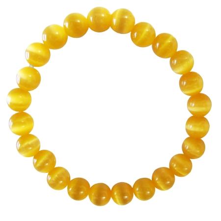 Stunning Saffron Cat Eye Jewelry Stretchable Bracelet Under $5