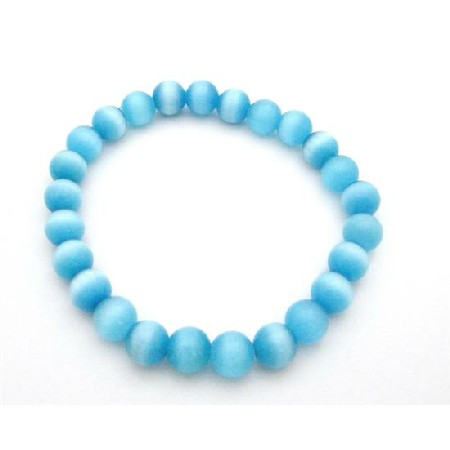 Shine Blue Jewelry Cat Eye Stretchable Bracelet 8mm Cat Eye Bracelet