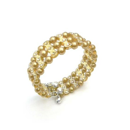 Golden Pearls Cuff Bracelet Bangle Stretchable Bracelet Cool Jewelry