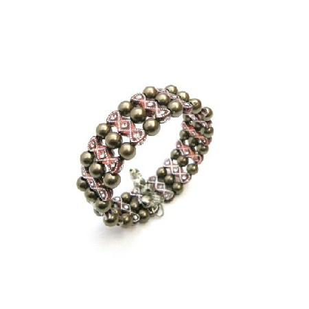 Dark Brown Pearls Cuff Bracelet Bangle Stretchable Bracelet Jewelry