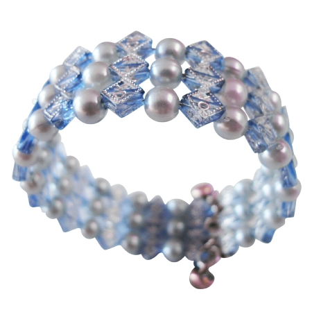Cuff Braclet Stretchable Comfortable Cool Blue Pearls Inexpensive Gift