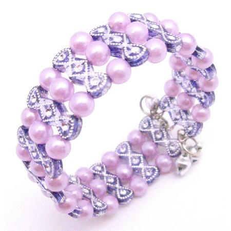Pink & Lavender Cuff Braclet Stretchable Lavender Pink Pearls Bracelet