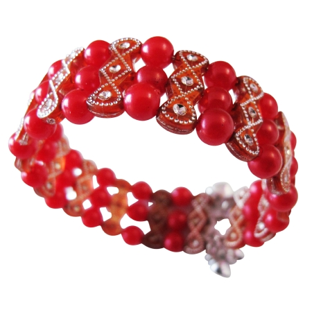 Return Gift For Girls Party Red Pearl Cuff Stretchable Bracelet