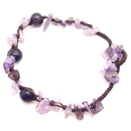 Interwoven Cord Under $5 Jewelry Amethyst Nugget Stone Chips Bracelet