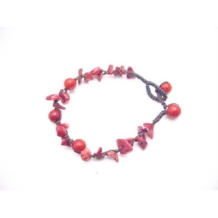Coral Red Bracelet Beautiful Return Gift Jewelry w/ Coral Bead