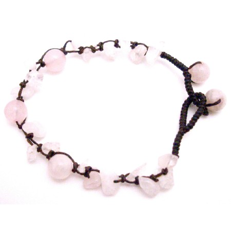Pink Rose Quartz stone Nugget Interwoven Bracelet w/ Rose Quartz Beads