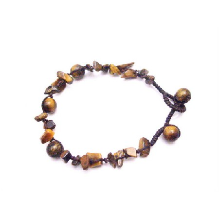 Tiger eye stone Nugget Interwoven Bracelet w/ Tiger eye Beads