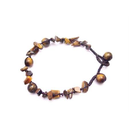 Tiger eye stone Nugget Interwoven Bracelet w/ Tiger eye Beads