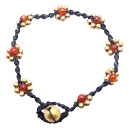 Interwoven Golden Flower Semi Precious Carnelian Stone Bracelet