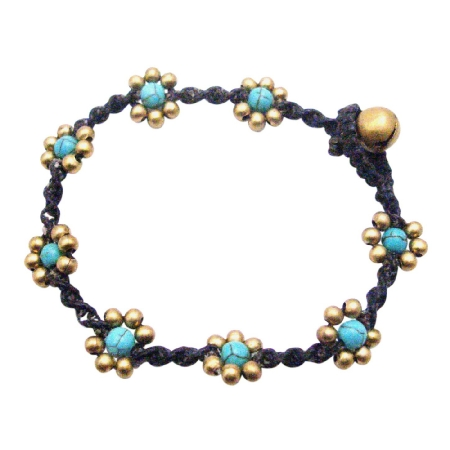 Turquiose Semi Precious Cheap Jewelry Interwoven Cord Bracelet