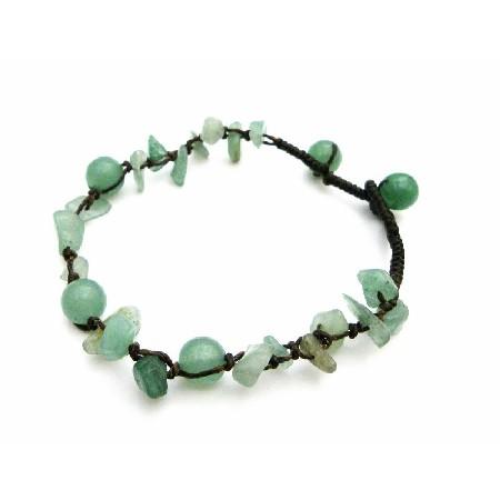 Jade Green stone Nugget Interwoven Bracelet Jade Green Beads Bracelet