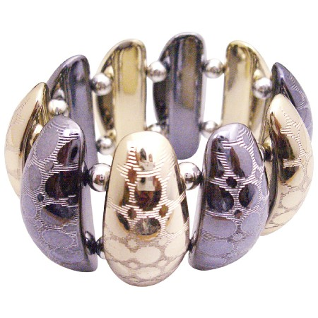Trendy Stylish Stretchable Ladies Bracelet In Oxidize & Gold Metal