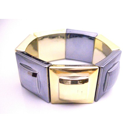 Gold & Oxidize Geometry Bracelet Square Big Bead Stretchable Bracelet