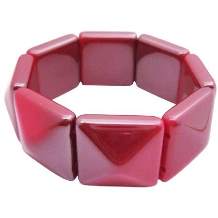 Geomatric Stretchable Bracelet Redish Pink Bead Stretchy Bracelet