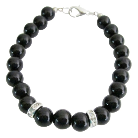 Stunning 8mm Black Pearls Jewelry Flower Girl Bracelet & Rondelles