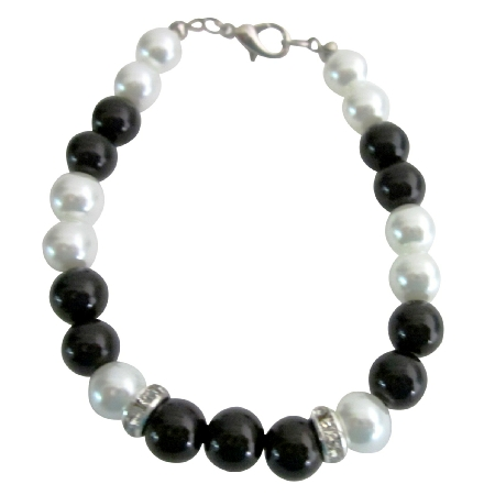 Super Dollar 5 Jewelry 8mm Black & White Pearls & Rondelles Bracelet