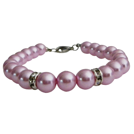 Inexpensive Bridal Bridesmaid Jewelry Pink Pearls Bracelet Under $5