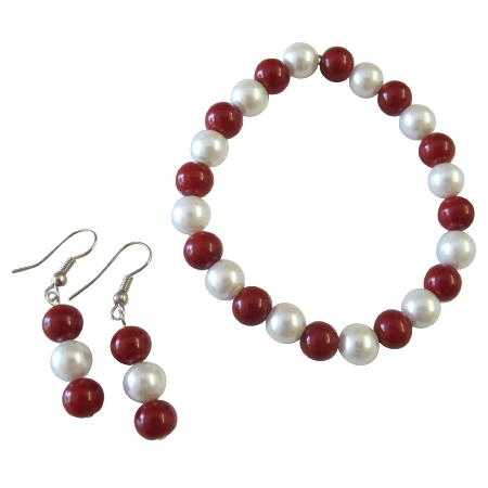 Handmade Christmas Gift White Coral Pearls Bracelet Earrings Set
