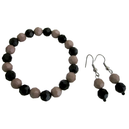 Inexpensive Flower Girl Bracelet Earring Mocha Black Jewelry