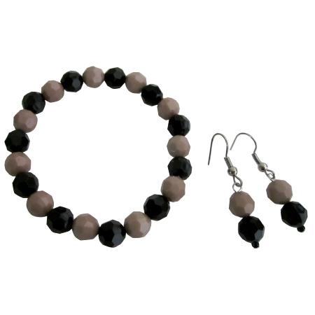 Inexpensive Flower Girl Bracelet Earring Mocha Black Jewelry