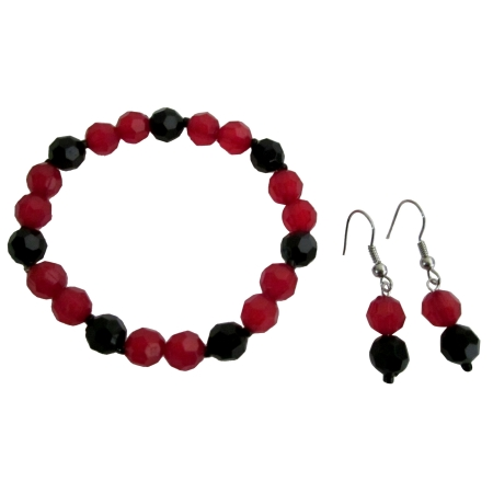 Stylish Cute Girls Jewelry Bracelet Earring In Red Black Color