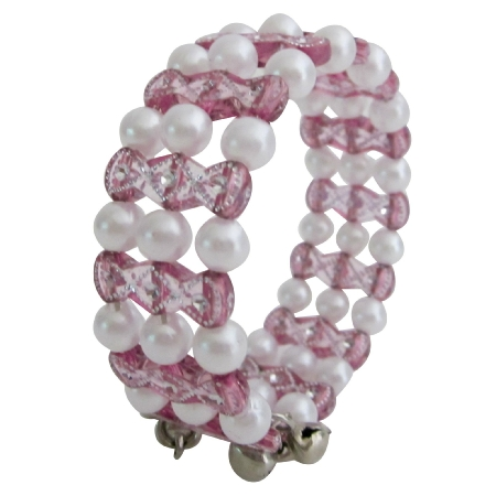 Bangle Bracelet Ine Pink & White Beads