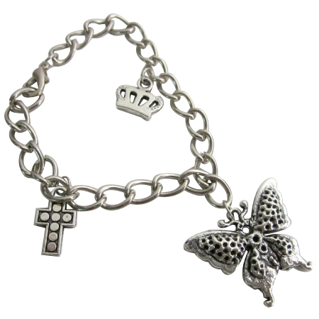 Charms Bracelet Dangling Crown Cross & Butterfly Stunning Bracelet