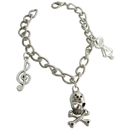 Skeleton Charm Bracelet Dangling Unique & Stylish Bracelet