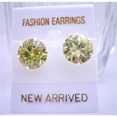10mm Round Olivine Cubic Zircon Sterling Silver Post Cz Stud Earrings