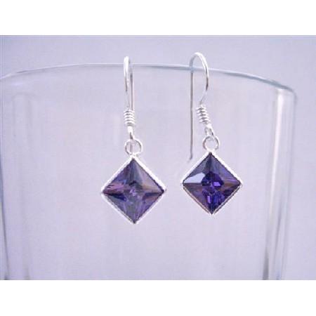 Tanzanite Cubic Zircon Diamond Shaped Sterling Silver Hook Earrings
