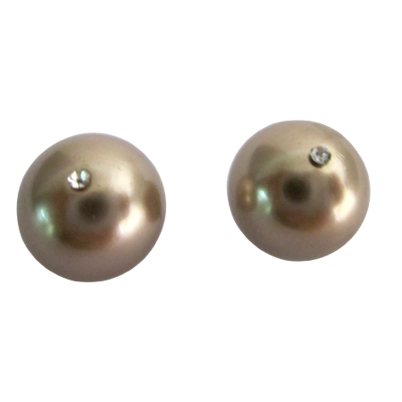 Bronze Pearl 10mm Surgical Post Stud Earrings w/ CZ in Middle Pearl
