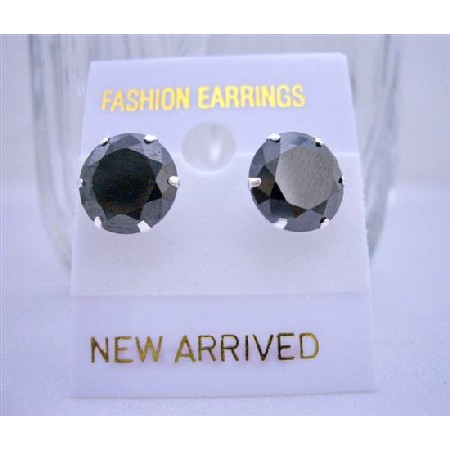 Sterling silver 92.5 Surgical Post Stud Earring Black Cz Stud Earrings