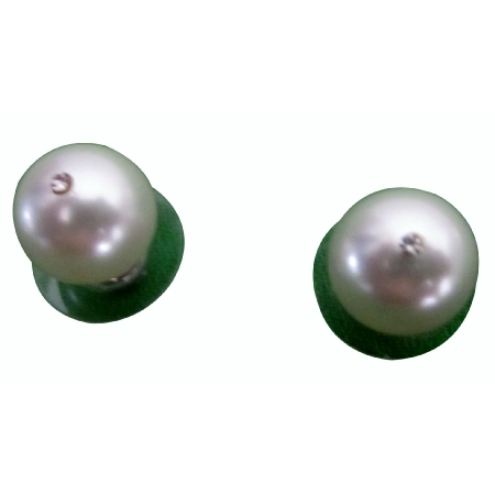 Cream Pearl 10mm Stud Earrings CZ in the Middle Of Pearl Stud Earrings