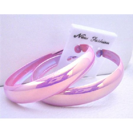Pink Sparkling Round Hoop Earrings 2 Inches Diameter Earrings