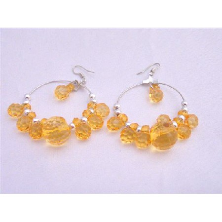 Simulated Crystals Beads Hoop Earrings Lime Beautiful Color Earrings