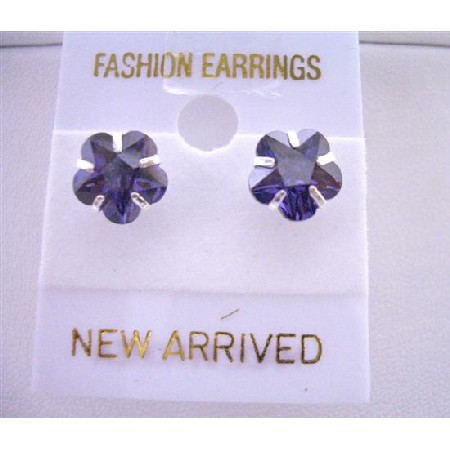 Tanzanite Flower Cubic Zircon Stud Earrings Surgical Post Earrings