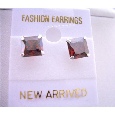 Stud Earrings Burnt Orange Price Cut Stud Earrings 8mm Cz Earrings