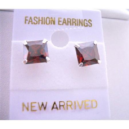 Stud Earrings Burnt Orange Price Cut Stud Earrings 8mm Cz Earrings