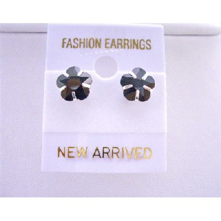 Trendy Striking Black Cubic Zircon Flower Shaped 8mm Stud Earrings