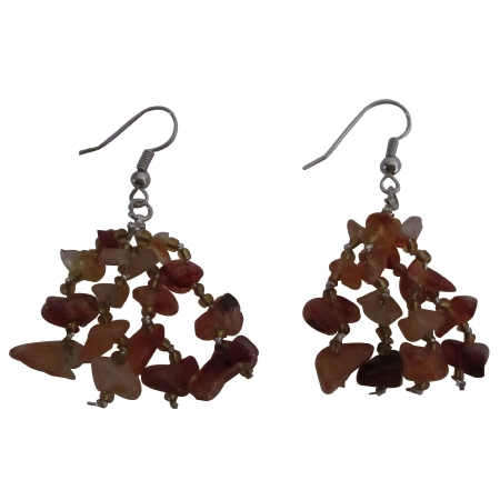 Carnelian Stone Chip Bead Earrings Custom Handcrafted Jewelry